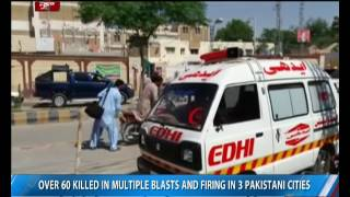 Download Over 60 killed in multiple blasts and firing in 3 Pakistani cities Video