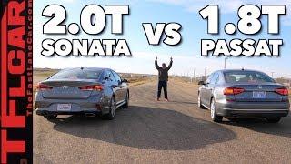 Download Won It By A Nose! VW Passat vs Hyundai Sonata Drag Race Video