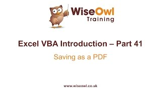 Download Excel VBA Introduction Part 41 - Saving as a PDF Video