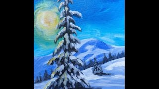 Download LONE Pine tree in snow LIVE Acrylic Painting for Beginners Video