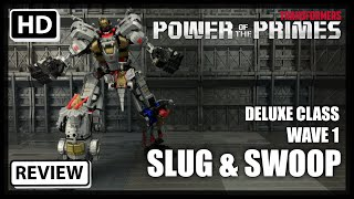Download Transformers Power Of The Primes Wave 1 Deluxe Dinobots SWOOP and SLUG Video