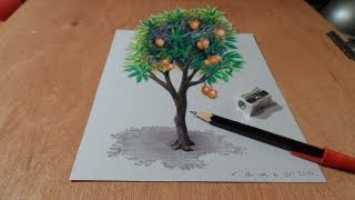 Download Drawing Tree - How to Draw 3D Mango Tree - Trick Art on Paper Video