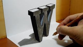 Download 3D Trick Art on Paper, Letter W with Dry Pastel Pencils Video