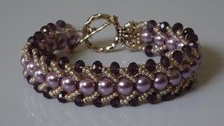 Download How to make a beautiful and easy pearl bracelet- flat spiral stitch Video