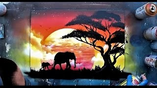 Download African sunset - Spray paint ART by Skech Video
