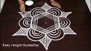 Download creative easy rangoli with dots * latest simple padi kolam * how to draw beautiful geethala muggulu Video