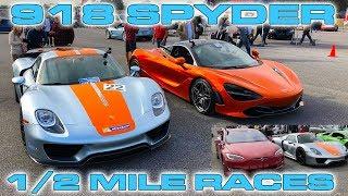 Download Porsche 918 Spyder vs McLaren 720S & Tesla P100D Drag Racing 1/2 Mile Video