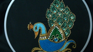 Download Hand embroidery designs. Aari style peacock embroidery for ghagras, dresses, sarees and blouses. Video