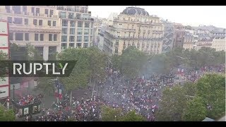 Download LIVE: Football fans celebrate at Champs Elysees after France win World Cup Video