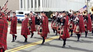 Download GOVERNOR LIVINGSTON HIGH SCHOOL HIGHLANDER PIPE & DRUM @ 2017 UNION SAINT PATRICK's DAY PARADE Video