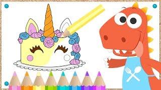 Download 🦄 Aprende con Eddie a colorear un Pastel de Unicornio 🍰 Eddie el dinosaurio hace una tarta Video