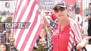 Download USA: 'Refugees out' chant protesters at 'anti-sharia' demo in San Bernadino Video
