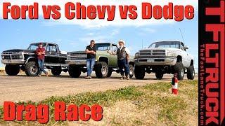 Download Classic Drag Race: Chevy K10 Big Green vs Ford F250 Rusty Boy vs Dodgezilla Ram Overkill Video