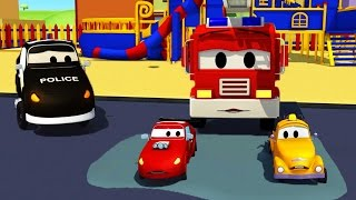 Download Car Patrol in Car City - Fire truck and police car with the Baby Cars stuck Video
