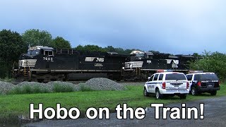 Download Hobo Riding the Train - Police Arrive! + 3 Passing Trains Video