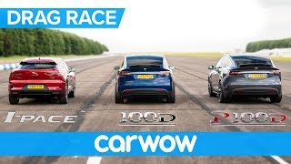 Download Jaguar I-Pace vs Tesla Model X 100D & P100D - DRAG RACE, ROLLING RACE AND BRAKE TEST Video