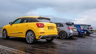 Download Audi SQ2 vs Merc-AMG A35 vs VW Golf R vs Cupra Ateca | Drag Races | Top Gear Video
