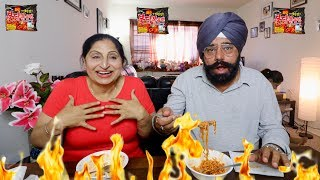 Download PUNJABI PARENTS TRY SPICY KOREAN RAMEN NOODLES | FIRE NOODLE CHALLENGE (INDIAN PARENTS VERSION) Video