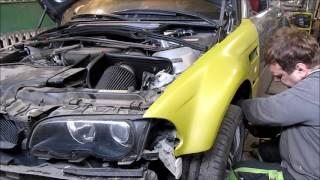 Download BMW M3. The side body repair of the car . Ремонт бока машины. Video