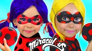 Download Alice Magic Transform into Miraculous LADYBUG with Costumes Super Hero Video