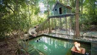 Download Build the Most Amazing Bamboo Villa Home heated Swimming Pool and Water Slide in The Jungle Video