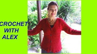 Download CROCHET TOP DOWN CARDIGAN SHELL STITCH any size tutorial Video
