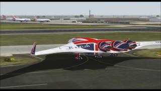 Download BOEING 797 FLYING WING SUPER LINER BRITISH AIRWAYS TAKE OFF FROM HEATHROW INTL AIRPORT FS9 HD Video