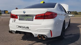 Download 750HP BMW M5 F90 with Straight Piped REMUS Exhaust - LOUD Revs & Drag Racing! Video