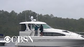 Download One man riding out Hurricane Florence on his boat Video
