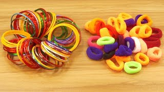 Download DIY Hair rubber bands & Old bangles crafts for beautiful home deco Video