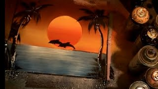 Download how to spray paint a sunset with dolphins,spray paint art video tutorial for beginners Video