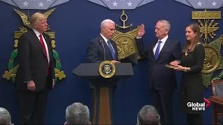 Download James Mattis sworn in as Secretary of Defense, Trump signs executive order on extreme vetting Video