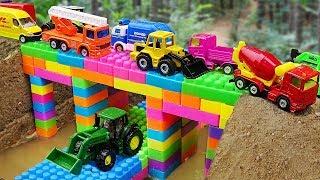 Download Bridge Construction Vehicles, Dump Trucks Blocks Toys Video