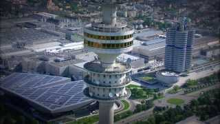 Download BMW Group Munich headquarter aerial view, BMW Welt and BMW Museum Video