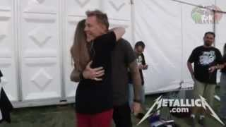 Download Metallica - James moves a girl to tears and hugs her at Meet&Greet Video