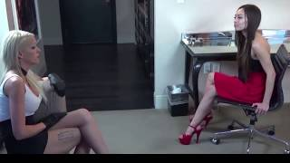 Download Bella puts on leather gloves and meets Natasha Video