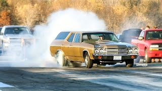 Download GROCERY GETTER EMBARRASES GTR! 10SEC STREET SLEEPER! '70 CHEVELLE WAGON! BYRON DRAGWAY! Video