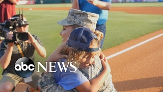 Download Air Force mom surprises son at RiverDogs baseball game after he throws out the first pitch Video