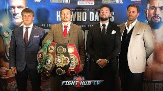 Download HE WHO DARES - OLEKSANDR USYK VS. TONY BELLEW FULL KICKOFF PRESS CONFERENCE & FACE OFF VIDEO Video