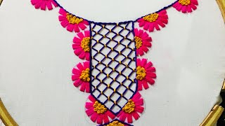 Download Hand Embroidery neckline embroidery design Video