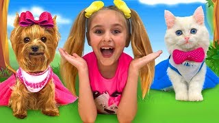 Download Sasha and Max found a Kitten & Puppy and starts pet beauty contest Video