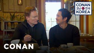 Download Conan & Steven Yeun Enjoy A Traditional Korean Meal Video