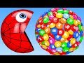 Download Learn Colors with PACMAN and Farm Watermelon m&m Surprise Toy Street Vehicle for Kid Children Video
