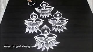 Download Latest deepam rangoli kolam designs with lotus for Diwali 2018 | Deepavali Muggulu Video