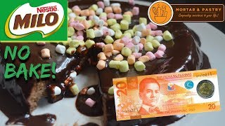 Download 30 PESOS NO BAKE MILO CAKE! | HOW TO MAKE 3-INGREDIENT FLOURLESS CAKE | Ep. 12 | Mortar & Pastry Video