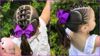 Download Peinado para niñas con ligas y trenzas pegadas|Peinados para niñas faciles y rapidos|LPH Video