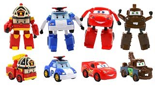 Download Robocar Poli and fake Cars Transformers Toys for kids - Poli,Amber,Roy,McQueen,Mater,Jackson Storm Video