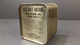 Download 1940-1945 WW2 AAF Life Raft Ration MRE US Military Food Review Army Air Force Charms Candy Americana Video