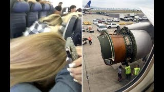 Download United Airlines passengers film in horror as engine cover is blown off during flight to Honolulu Video
