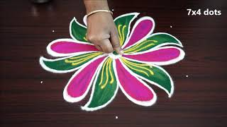 Download Simple nd easy muggulu with 7 x 4 dots small designs new rangoli kolam art designs Video